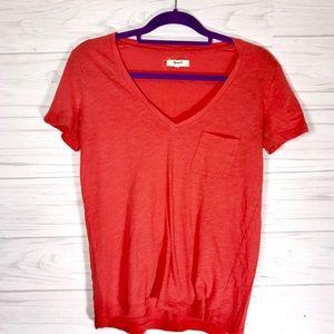 Madewell Orange V-Neck Ladies T-Shirt | XS